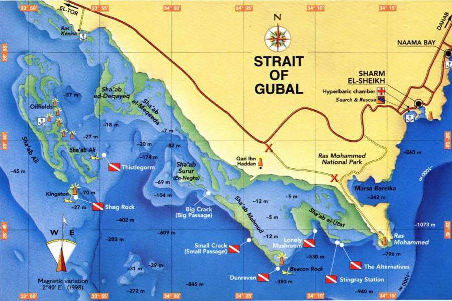 Карта дайв-сайтов пролива