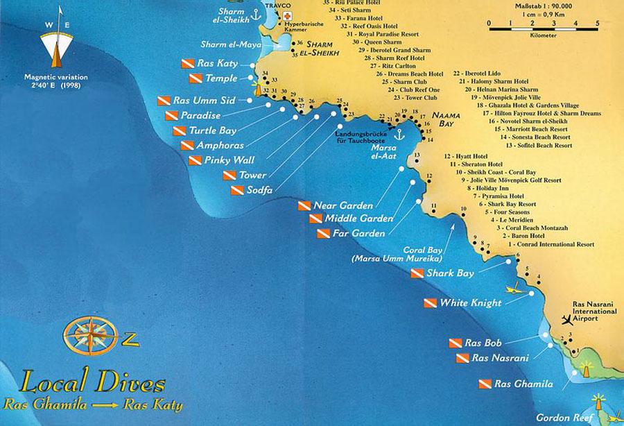 Карта локальных дайвсайтов